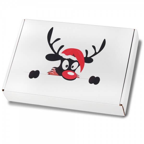 """festlich bedruckte Maxibriefkartons mit Weihnachtsmotiv """"Weihnachtselch"""" 350x250x50 mm A4+"""