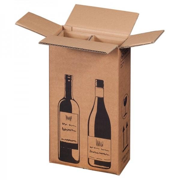 Flaschenkarton für 2 Flaschen 204x108x368 mm
