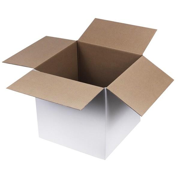 Weiße Kartons 300x300x300 mm einwellig