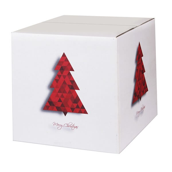 Modern bedruckte Weihnachtskartons 300x300x300 mm Motiv Tannenbaum