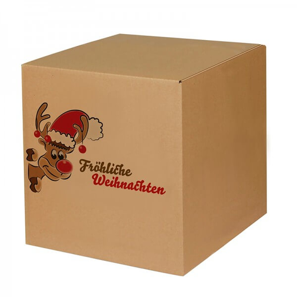 "bedruckte Weihnachtskartons ""Mr. Holly"" 300x300x300 mm, B 1.20 b"