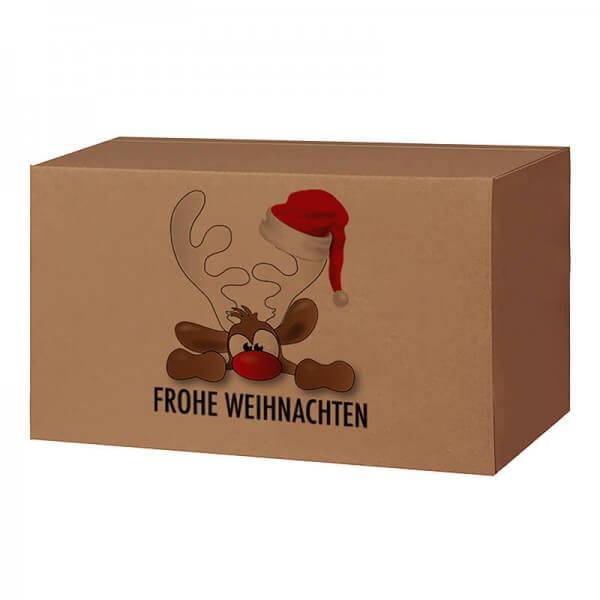 Weihnachtkartons 400x300x200 mm braun mit Druckmotiv Rudolph der Elch