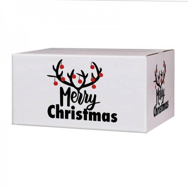 Weihnachtskartons 400x300x200 mm weiß mit Druckmotiv Christmas Bells