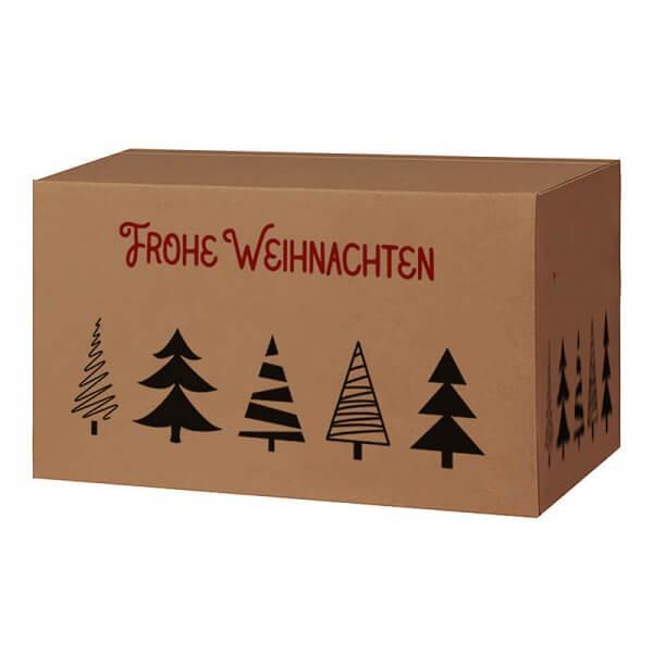 Weihnachtkartons 400x300x200 mm braun mit Druckmotiv Tannenbaumallee