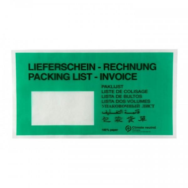 grüne Papier-Lieferscheintaschen DIN Lang Lieferschein-Rechnung
