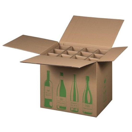12er Flaschenkarton ECO 420x305x368 mm PTZ geprüft für 0,75l  Bordeaux, Schlegel 0,75l, Burgunder und Sekt Flaschen