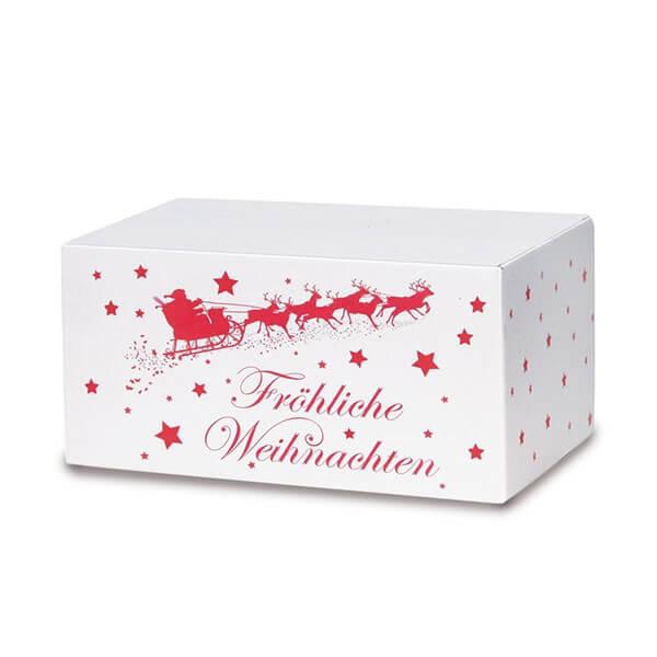 Modernbedruckte Weihnachtskartons 300x215x140 mm Motiv Weihnachtsschlitten