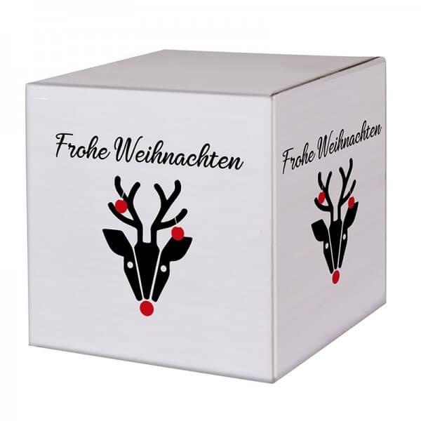 "bedruckte Weihnachtskartons ""Hirschkuh Alois"" 300x300x300mm, B 1.30 w"