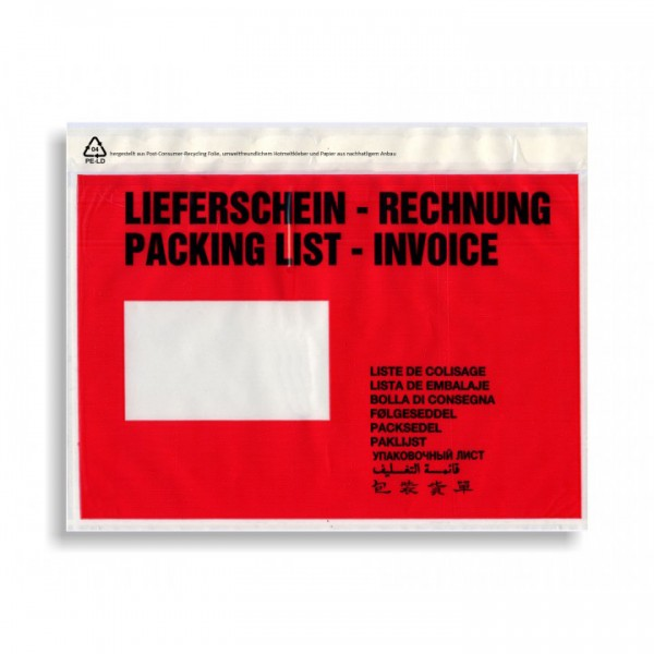 bedruckte Lieferscheintaschen C5 Lieferschein - Rechnung