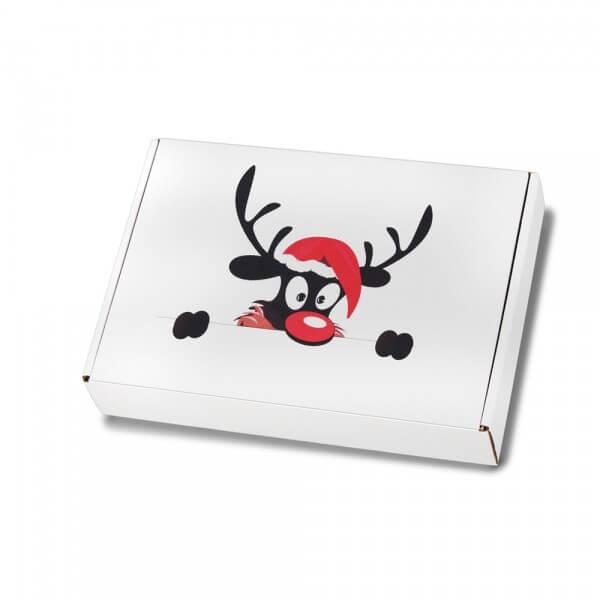 """festlich bedruckte Maxibriefkartons Weihnachtsmotiv """"Weihnachtselch"""" 250x174x50 mm"""