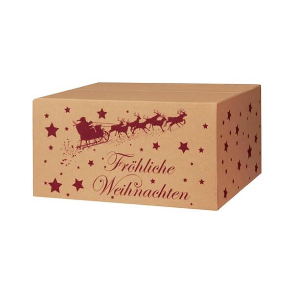 Modern bedruckte Weihnachtskartons 300x215x140 mm braun Motiv Weihnachtsschlitten