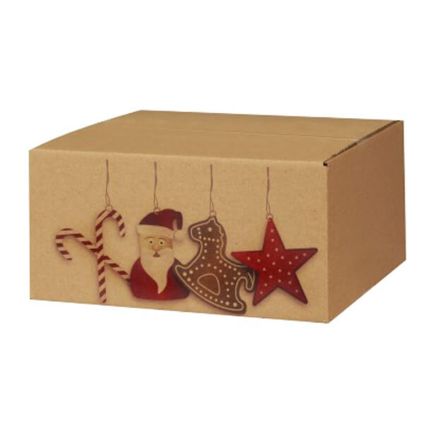 Modern bedruckte Weihnachtskartons 300x215x140 mm braun Motiv Nikolausdesign
