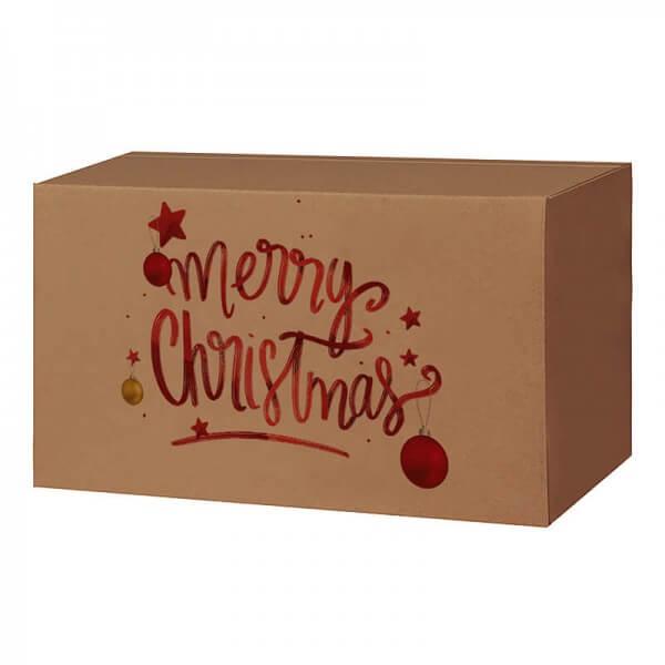 Weihnachtkartons 400x300x200 mm braun mit Druckmotiv Magic Christmas