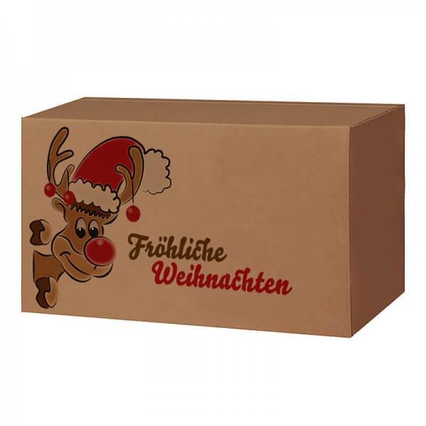Weihnachtkartons 400x300x200 mm braun mit Druckmotiv Mr. Holly