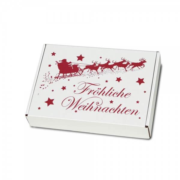"""festlich bedruckte Maxibriefkartons Weihnachtsmotiv """"Weihnachtsschlitten"""" 250x174x50 mm"""