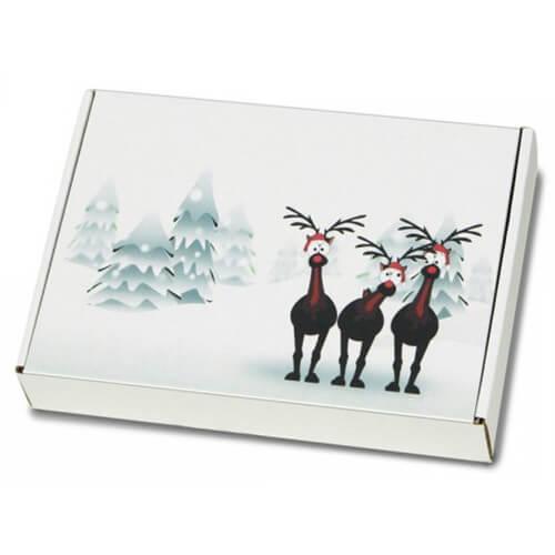 """festlich bedruckte Maxibriefkartons mit Weihnachtsmotiv """"Rentiere im Schnee"""" 350x250x50 mm A4+"""