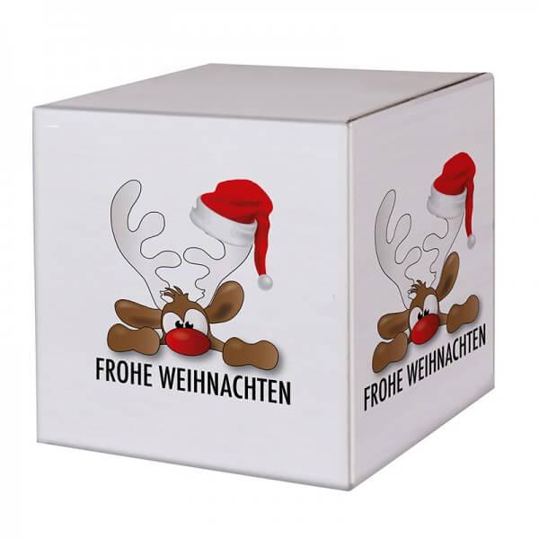 """bedruckte Weihnachtskartons """"Rudolph der Elch"""" 300x300x300 mm, B 1.30 w"""
