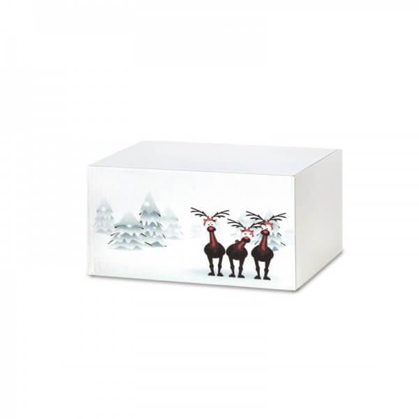 """Weihnachtkartons bedruckt """"Rentiere im Schnee"""" 200x150x90 mm"""