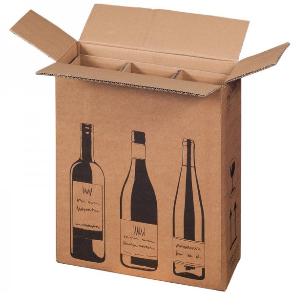 Flaschenkarton für 3 Wein-Sektflaschen 305x108x368 mm