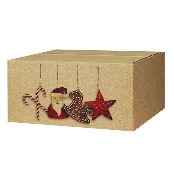 Modern bedruckte Weihnachtskartons 400x300x200 mm Motiv Nikolausdesign