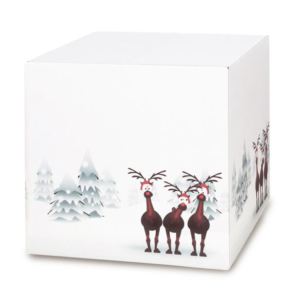 Lustig bedruckte Weihnachtskartons 300x300x300 mm Motiv Rentiere im Schnee