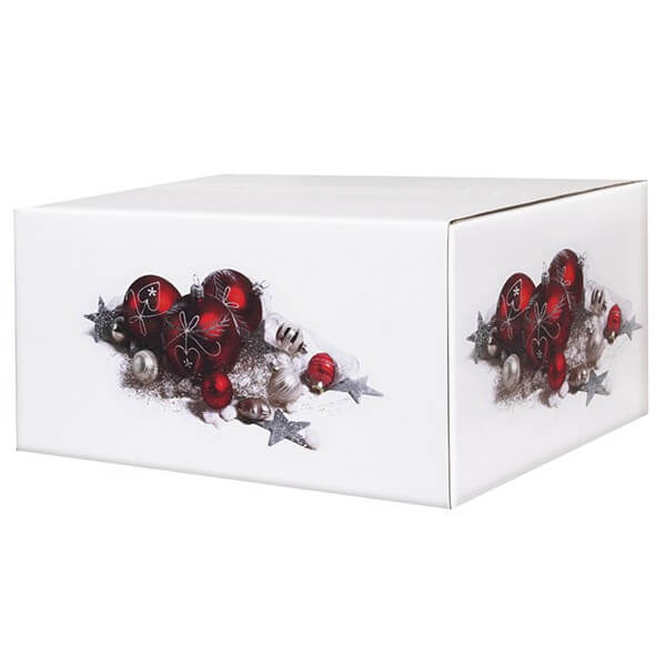 Klassisch bedruckte Weihnachtskartons 400x300x200 mm Motiv Weihnachtsschmuck