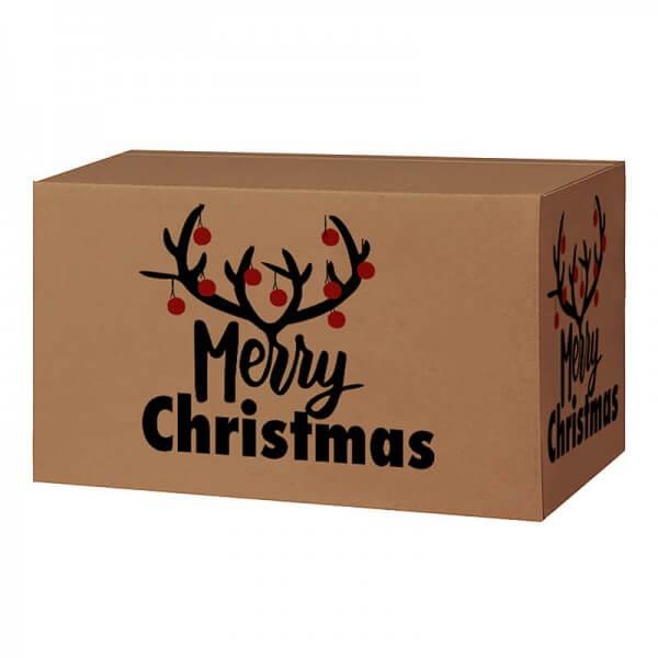Weihnachtkartons 400x300x200 mm braun mit Druckmotiv Christmas Bells