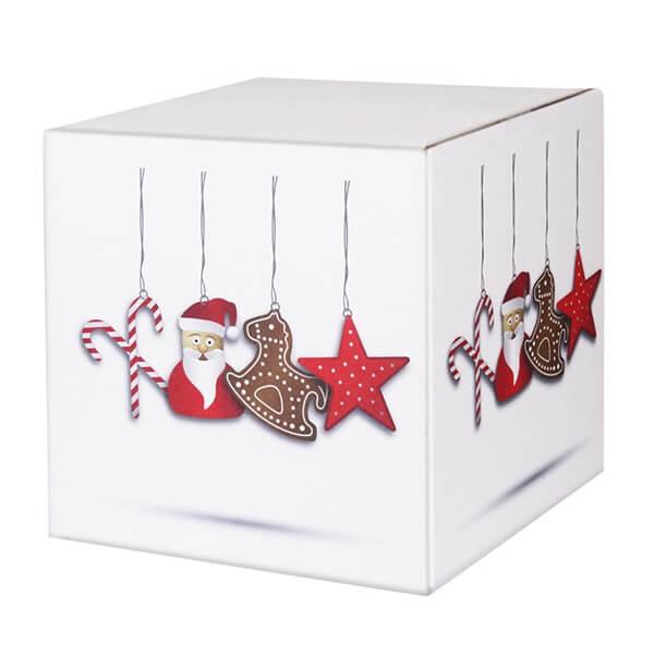 Modern bedruckte Weihnachtskartons 300x300x300 mm Motiv Nikolausdesign
