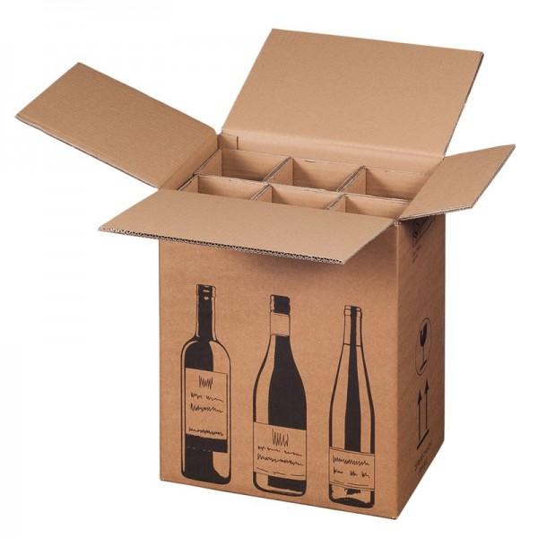 Flaschenverpackung für 6 Wein-Sektflaschen 305x215x368 mm