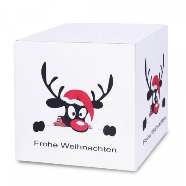 Lustig bedruckte Weihnachtskartons 300x300x300 mm Motiv Weihnachtselch