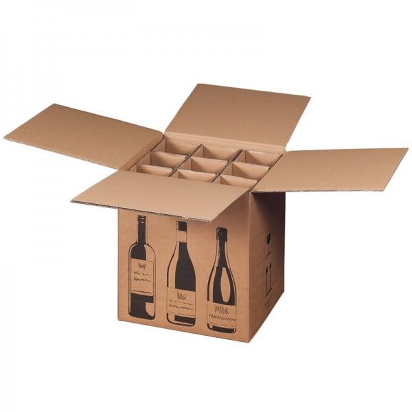 Flaschenkarton für 9  Wein-Sektflaschen 316x305x368 mm