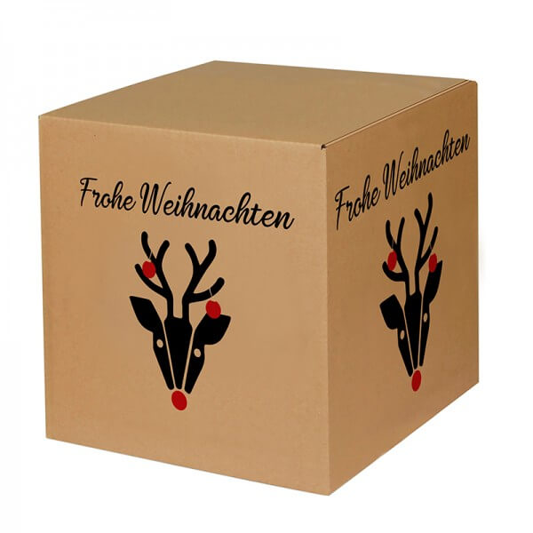 "bedruckte Weihnachtskartons ""Hirschkuh Alois"" 300x300x300 mm, B 1.20 b"