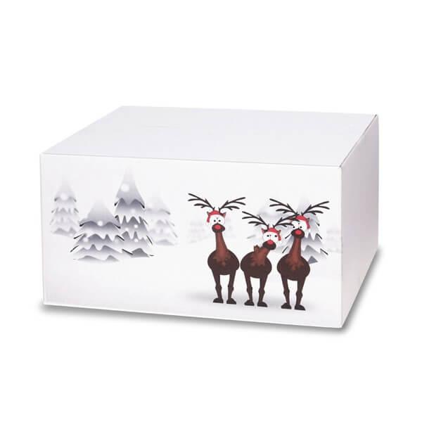 Lustig bedruckte Weihnachtskartons 400x300x200 mm Motiv Rentiere im Schnee