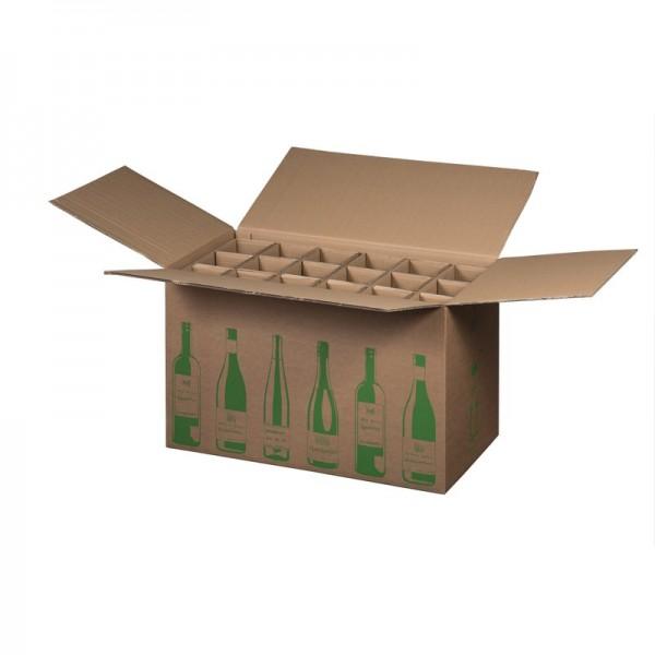 18 er Flaschenkarton ECO 628x305x368 mm PTZ geprüft für 0,75l  Bordeaux, Schlegel 0,75l, Burgunder und Sekt Flaschen