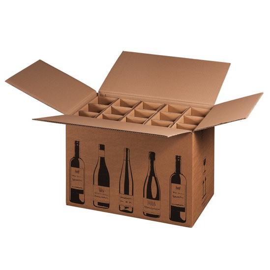 Flaschenkarton für 15 Wein-Sektflaschen 524x305x368 mm