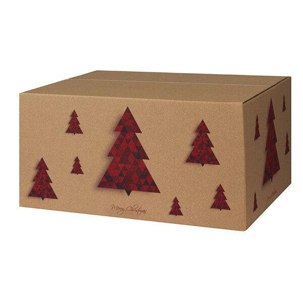 Modern bedruckte Weihnachtskartons 400x300x200 mm Motiv Tannenbaum