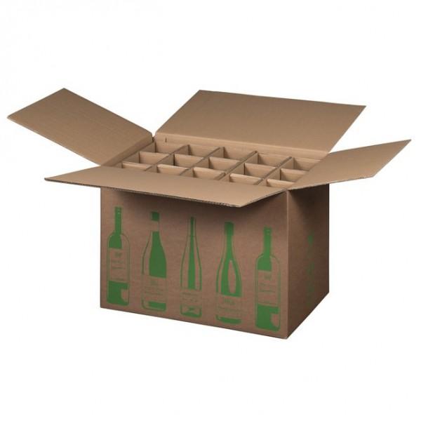 15 er Flaschenkarton ECO 524x305x368 mm PTZ geprüft für 0,75l  Bordeaux, Schlegel 0,75l, Burgunder und Sekt Flaschen